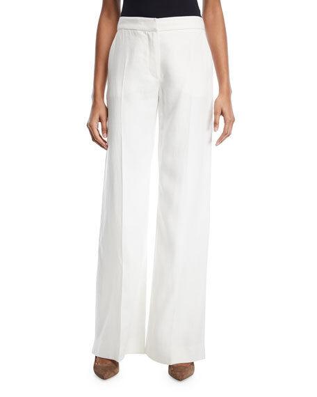 Max Mara NWT 100% Flax Linen Wide Leg High Waist Pants Trousers   535 Sz 10