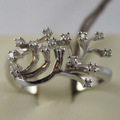 SOLID 18K WHITE GOLD RING WITH DIAMONDS, TREE BRANCH BY MILUNA, MADE IN ITALY