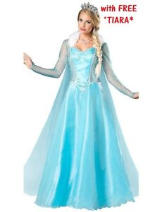 b28782e07be2ee fête REINE DES NEIGES ELSA Déguisement reine de glace adulte robe ...