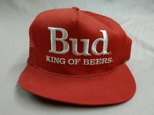 b92414e24b2 VINTAGE BUD KING OF BEERS RED SNAPBACK TRUCKERS HAT CAP OFFICIAL ...