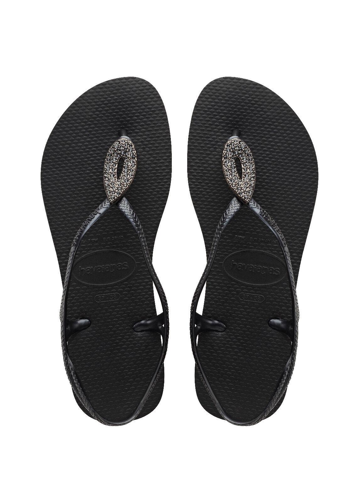 HAVAIANAS Zehentrenner Badeschuhe Thongs Sandale LUNA SPECIAL schwarz schwarz NEU