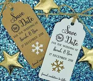 Winter Themed Wedding Save The Date / Invitation with Snowflake