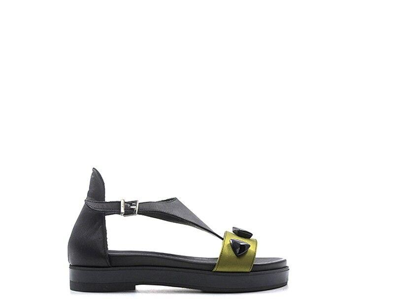 Zapatos Pierfrancesco Vincenti para mujeres Sandalias bajo Negro Cuero Natural PIE8307.N
