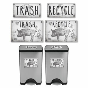 Vintage-Farmhouse-Styled-Country-Pig-Trash-and-Recycle-Label-Stickers