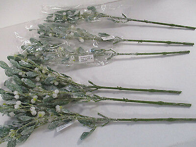 Pack of 6 Frosted Artificial Mistletoe Spray 58cm  - Winter Christmas Decoration