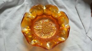 Vintage-Carnival-Glass-Amber-Bowl-Grape-Pattern-at-Base-Scalloped-Edges-7-034-wide