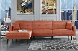 Details about Mid Century Modern Style Sofa Sleeper Futon Sofa, L Shape  Sectional Orange