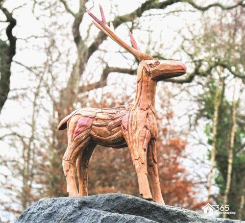 Rustic Wood Effect Standing Reindeer Garden Ornament Deer Outdoor Statue Stag