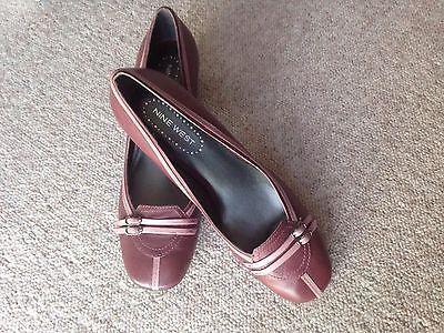 Nine west vintage de bloque talón de cuero zapatos talla 6 UK