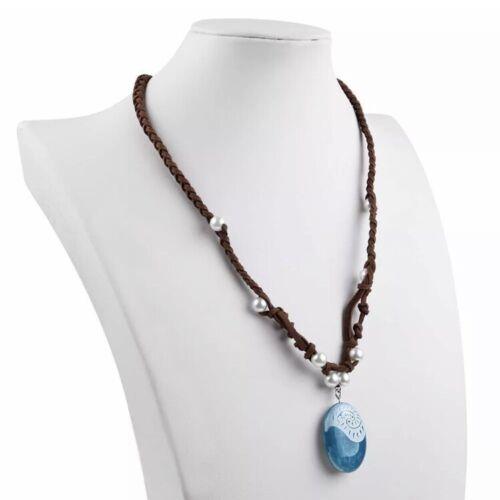 "Princess Moana Blue Stone Necklace Pendant Costume Cosplay 1.5"" US Seller"