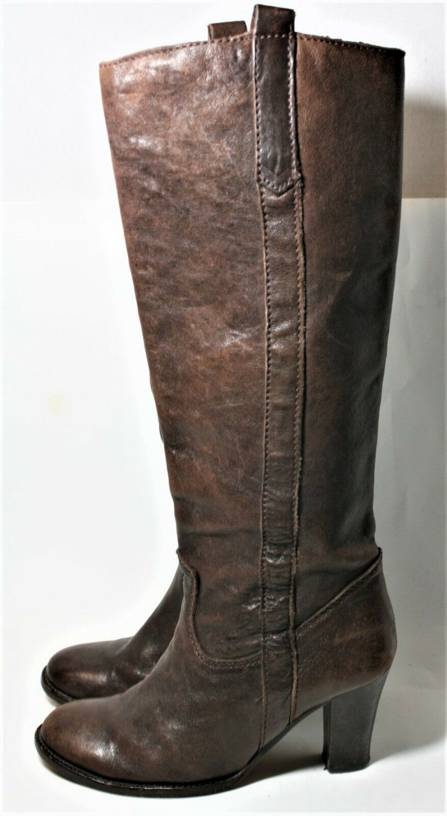 GERARD DAREL schuhe braun LEATHER PULL ON Stiefel Stiefel Stiefel 70S STYLE KNEE HIGH BOHO 37 07e83d