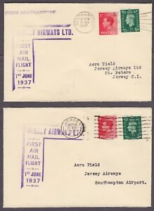 the latest 20bdd d108c Details about 1937 JERSEY AIRWAYS LTD FIRST FLIGHT COVERS JERSEY  SOUTHAMPTON AND BACK ( 2 )