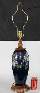 Fabulous-Vintage-Moorcroft-Pottery-Large-Anemone-Lamp-32-3-4-Inches-Teak-Base