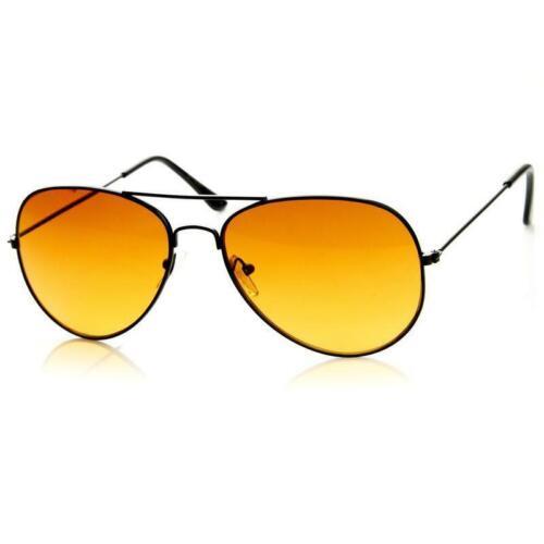 Hd Aviator Sunglasses Driver Night Vision Driving Glasses Amber Lens Anti Glare