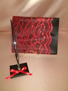 GOTH-GUEST-BOOK-AND-PEN-SET-WITH-BLACK-AND-RED-LACE-TRIM