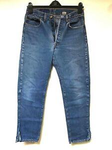 Levi-039-s-501-039-s-jeans-Straight-leg-Distressed-Faded-Hippie-Boho-punk-Denim-30x29