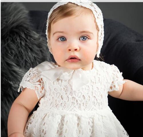 Newborn Baby Girls Christening//Birthday//Prom White Lace Party Princess Dress 47