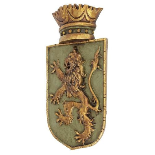 Medieval Lion Emblazoned Heraldic Crest Crowned Lion Shield Wall Sculpture