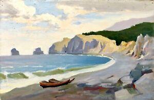 painting-decor-art-old-vintage-Marine-landscape-sea-collectible-rare-Chuprina