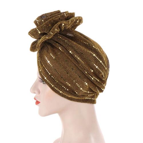 Women Glitter Flower Turban Hijab Hat Hair Loss Chemo Cap Head Wrap Bandana Caps