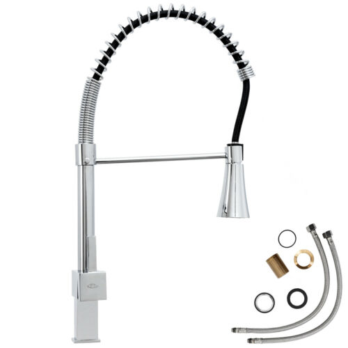 LED Grifo de cocina grifería fregadero extraíble caño lavabo mezclador alto nuev