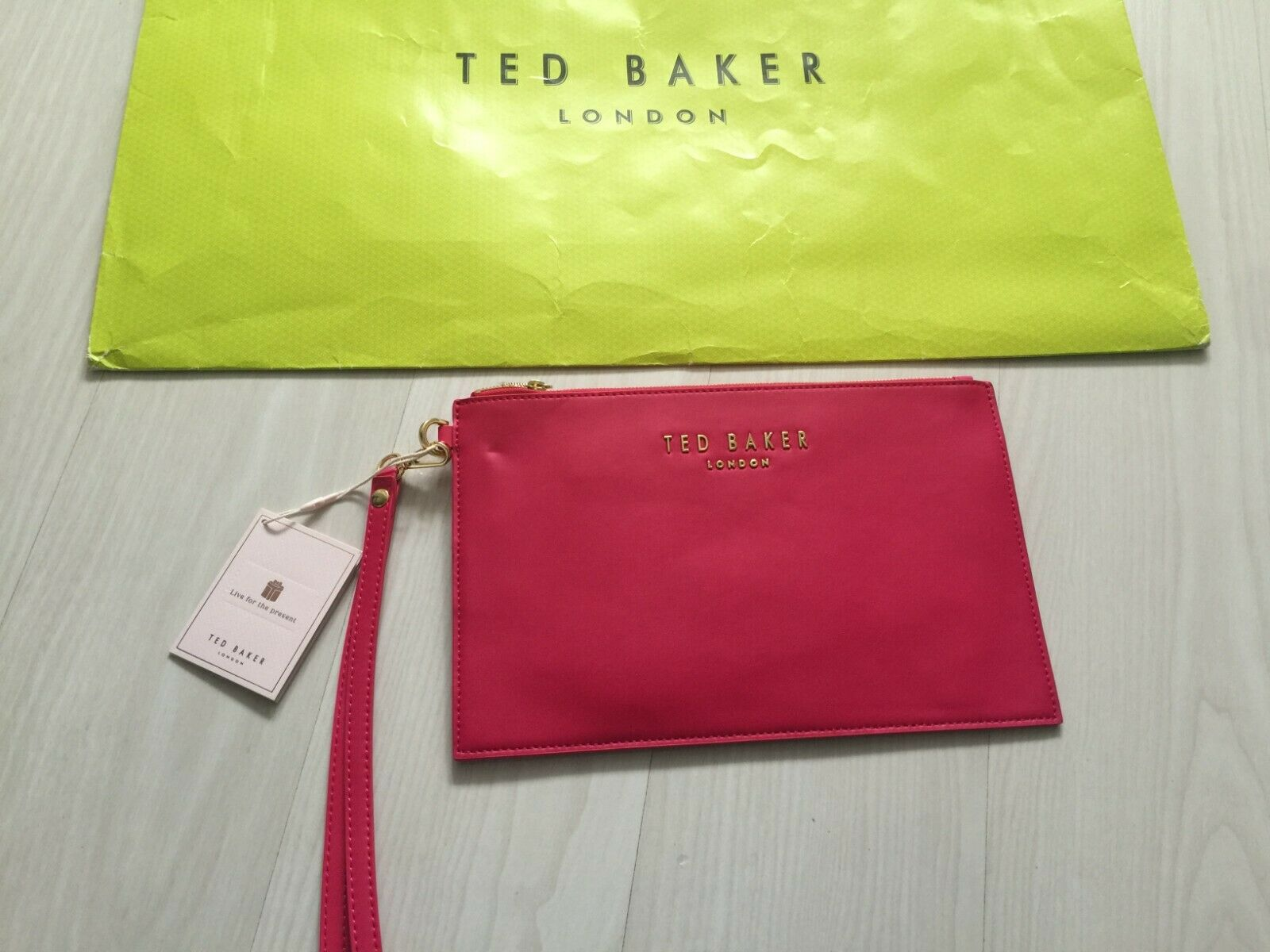 Ted Baker Ladies Fuchsia Leather Wristlet : Perfect Gift : Brand New
