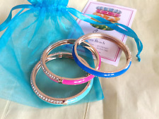 Sequin Brand Hinged Enamel & Crystal Pink & Blue Bangle Bracelets  Lot of 3 NWOT