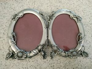 1992-seagull-pewter-etain-zinn-double-picture-frame-oval-garland-flowers-3x4