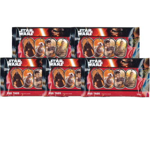 Topps 5 Pack Lot -New Factory Sealed Star Wars: The Force Awakens Dog Tags
