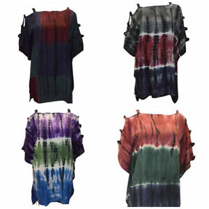 PLUS-SIZE-TIE-DYE-BOHO-COLD-SHOULDER-HIPPIE-TUNIC-DRESS-UP-TO-UK-SIZE-24-MULTI