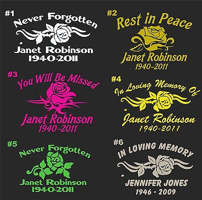 IN LOVING MEMORY CAR WINDOW DECAL ROSE THEME.......PICK YOUR STYLE &  COLOR