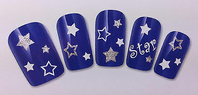 NEW Sparking Stars Nail Art Decals Water Transfer Sticker Natural/False Nails