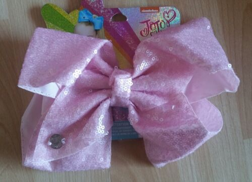 """JOJO SIWA GIRLS LARGE PALE PINK BLING 8/"""" HAIR CLIP BOW SEQUIN BRAND NEW"""