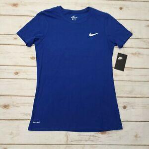 NIKE Women Dri Fit T Shirt Rush Blue White DC8765 495 - Sz Small