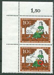 Berlin-266-I-postfrisch-Eckrand-Paar-Plattenfehler-gruener-Fleck-Michel-160-00