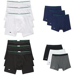 a21cc018f8b89 NEW Lacoste Underwear Men 3 Pack Cotton Boxer Briefs Croc Logo   eBay