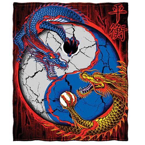 Dragon Yin Yang Fleece Throw Blanket