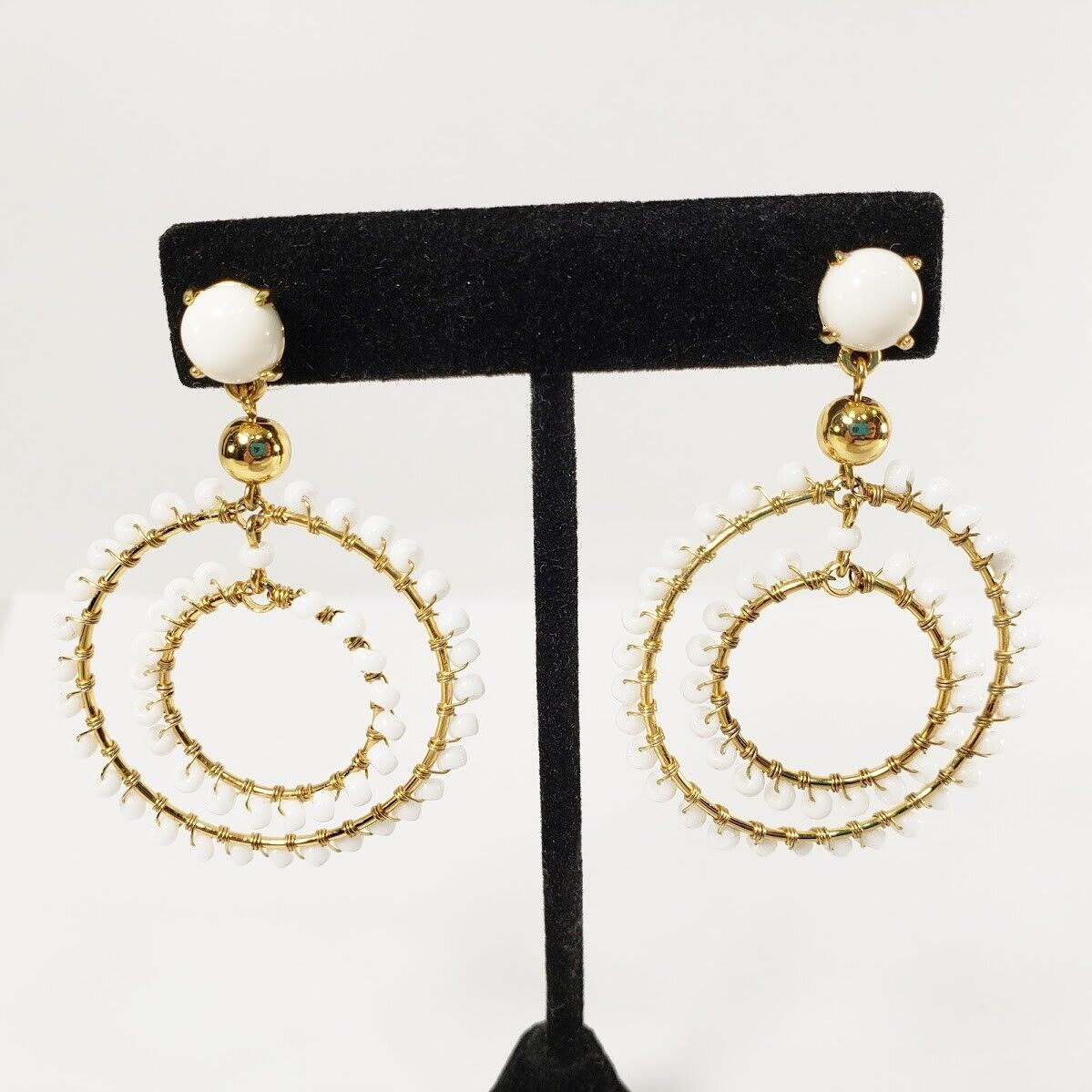 J. Crew Earrings White Bead Dangle Circle Gold Color