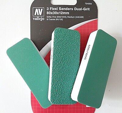 Vendita Economica Vallejo T04004, 3 Dual-grit Flexi Sanders 80x30x12mm, Schleifpads, 3er-set, Nuovo-mostra Il Titolo Originale