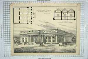 ORIGINAL OLD ANTIQUE PRINT 1885 Layton Art Gallery Milwaukee Wisconsin America