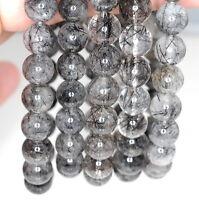 9mm Black Rutilated Quartz Gemstone Grade Aa Round 9mm Loose Beads 7