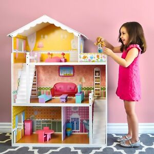 Image is loading Large-Wooden-Dollhouse-Barbie-Doll-House-Pink-Children- 0f92c0598536