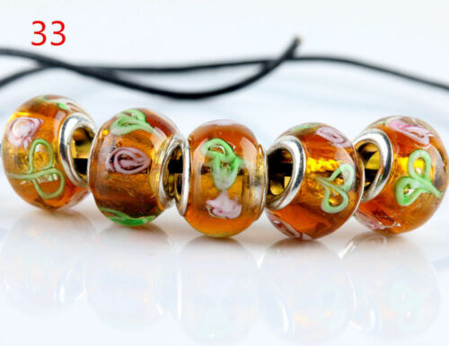 SILVER MURANO GLASS BEADS LAMPWORK Fit European Charm Bracelet Jewelry 5 Pcs