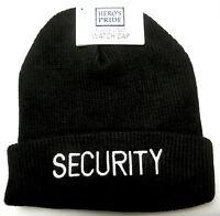 Security Knit Fleece Lined Watch Cap/hat White On Black