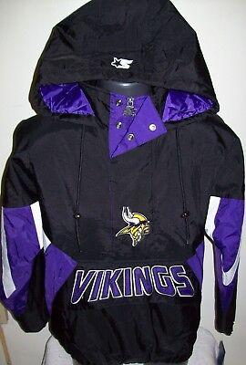 new style 61d05 39ea4 MINNESOTA VIKINGS Starter Hooded Half Zip Pullover Jacket S M L XL 2X BLACK  | eBay