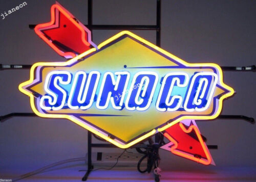"""24/""""X18/"""" New SUNOCO RACING FUEL DECAL GAS MOTOR OIL PUMP STATION NEON LIGHT SIGN"""