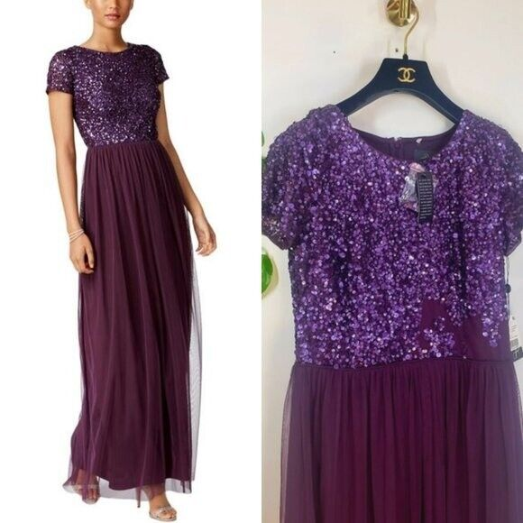 NWT ADRIANA PAPELL Eggplant Sequin sleeves Chiffon Evening Tulle Gown 8 M