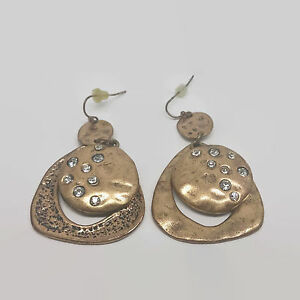 Image Is Loading Bronze Colored Rhinestone Textured Disc Earrings