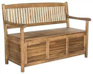 Tremendous Safavieh Outdoor Living Brisbane Brown Storage Bench Dailytribune Chair Design For Home Dailytribuneorg
