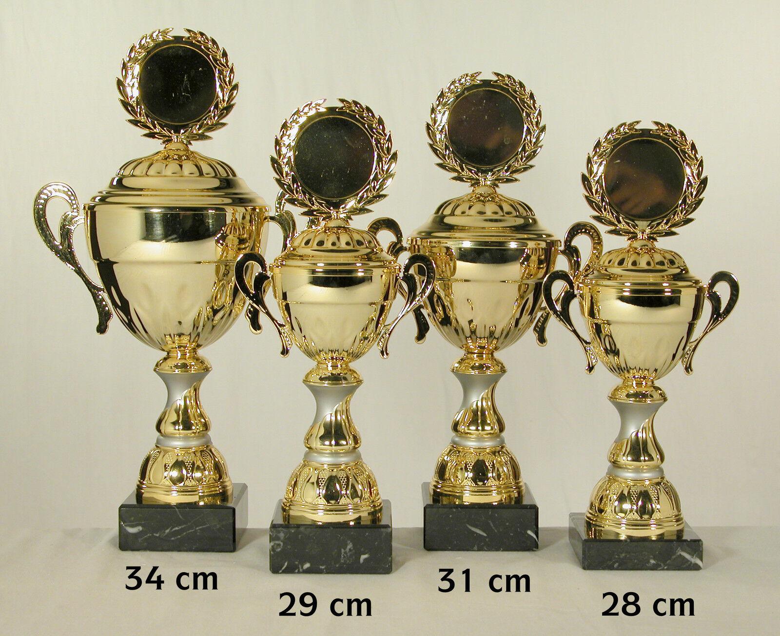 4 Pokale goldfarben  34 - 31 - 29 - 28 cm eischl. Text und Emblem.